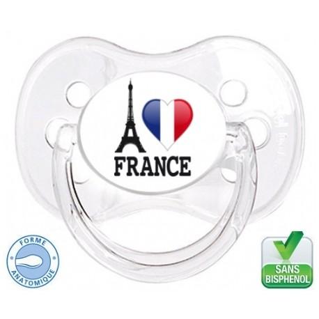 Sucette bébé i love France-Tétine personnalisée Pays