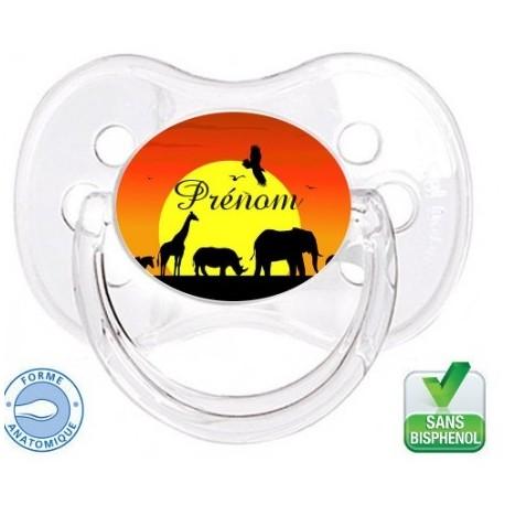 Tétine bébé avec logo savane et le prénom