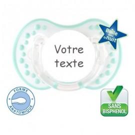 Sucette personnalisée night and day bleu,blanc fluorescente
