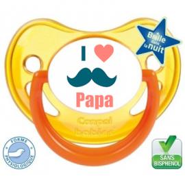 Sucette bébé i love papa moustache
