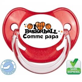 Tétine personnalisée i love basket comme papa