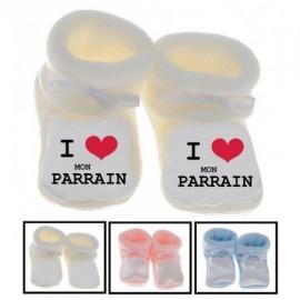 Chaussons bébé I love parrain