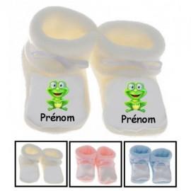 Chaussons bébé personnalisés grenouille et prénom
