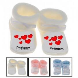Chaussons bébé personnalisés coeurs et prénom