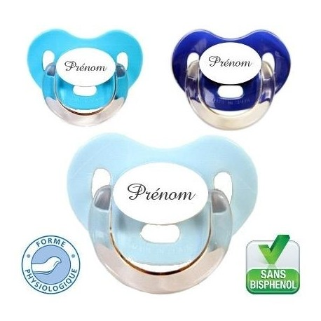 Tétine personnalisée charme, lot de 3 (bleu,turquoise,marine)