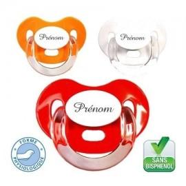Tétine personnalisée charme, lot de 3 (orange,rouge,blanc)