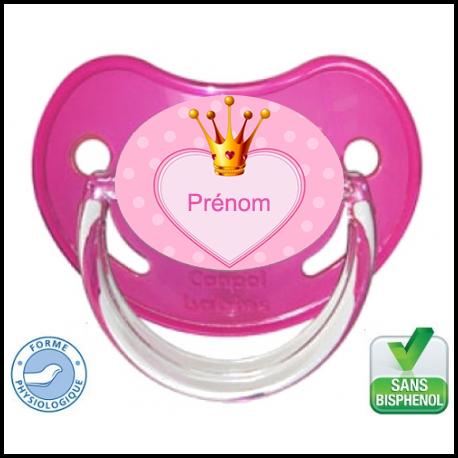 tétine bébé couronne de princesse avec coeur