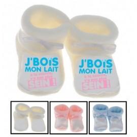 Chaussons bébé J'bois mon lait à la source