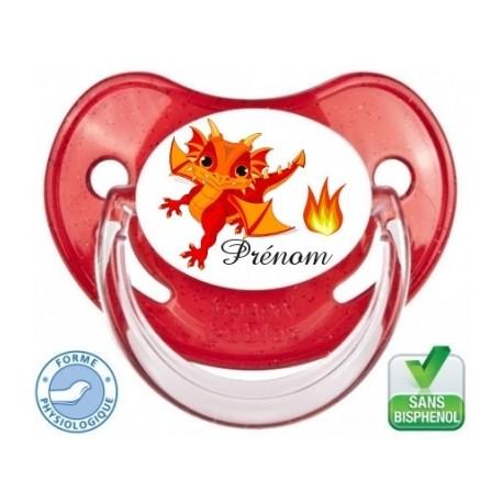 Tétine de bébé personnalisée dragon rouge et prénom