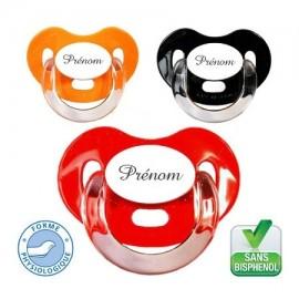 Tétine personnalisée, lot de 3 modèle charme orange, noire, rouge