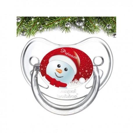 Tétine personnalisée bonhomme de neige noël