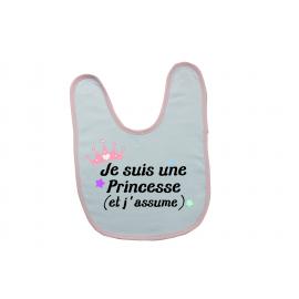 Bavoir personnalisé je suis une princesse