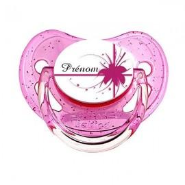 Tétine personnalisée fleur rose et prénom