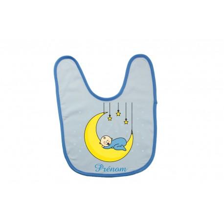 Bavoir personnalisé bébé garçon sur la lune