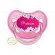 Tétine personnalisée marguerite fond rose
