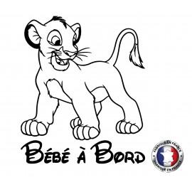 Stickers bébé à bord roi lion