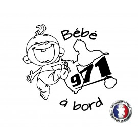 Stickers bébé à bord Guadeloupe 971