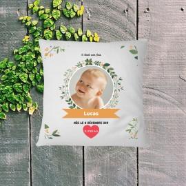 Coussin naissance personnalisé floral photo