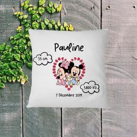 Coussin naissance personnalisé Minnie et Mickey