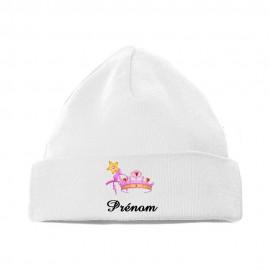 Bonnet personnalisé avec une couronne de princesse et prénom