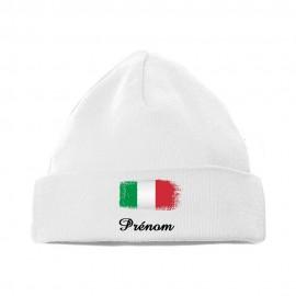 Bonnet personnalisé avec drapeau de l'italie et prénom