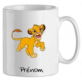 Mug tasse personnalisé avec Simba du roi lion et prénom