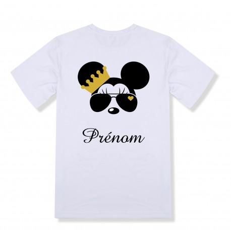 T-shirt enfant personnalisé Minnie couronne et prénom