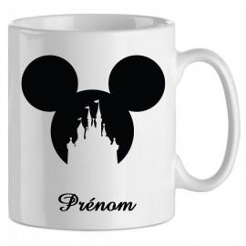Mug tasse personnalisé Mickey château cœur et prénom