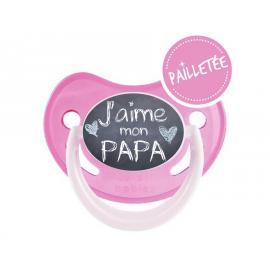 Tétine bébé j'aime mon papa version ardoise