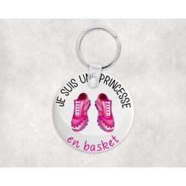 Porte clé personnalisé je suis une princesse en basket