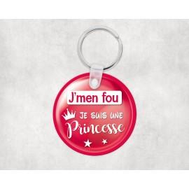 Porte clé personnalisé j'men fou je suis une princesse