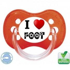 Tétine personnalisée i love foot