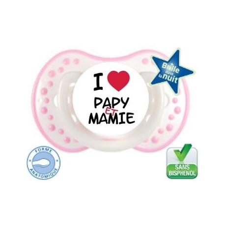 Tétine bébé i love papy et mamie